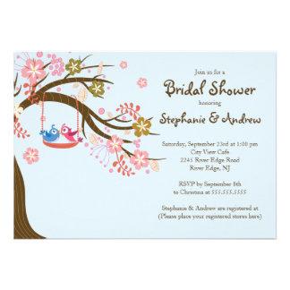 Cute Modern Love Birds Bridal Shower Invitations