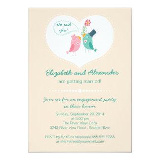 Cute Modern Love Birds Heart Engagement Party 13 Cm X 18 Cm Invitation Card