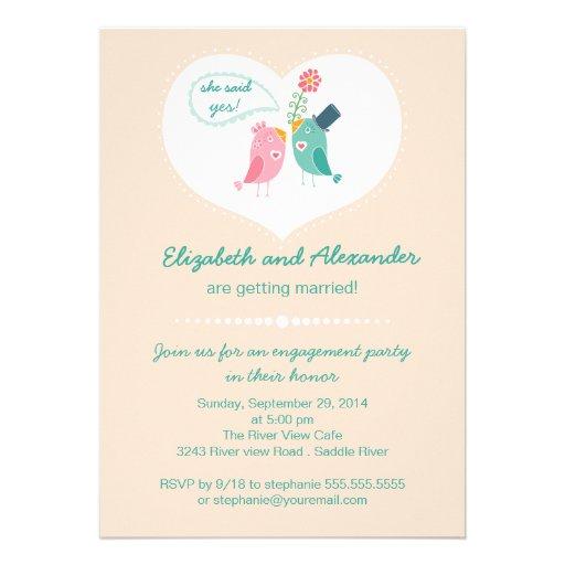 Cute Modern Love Birds Heart Engagement Party Custom Invitations