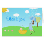 Cute Modern Mom and Baby Boy Thank You Greeting Cards
