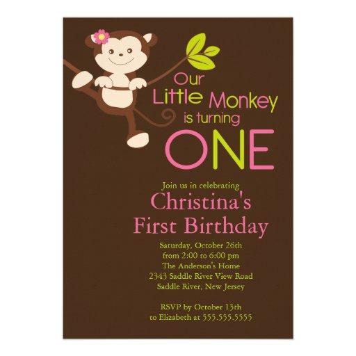 Cute Modern Monkey 1st Birthday Party Invitations