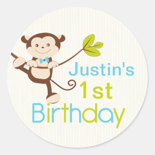 Cute Modern Monkey Birthday Party Stickers