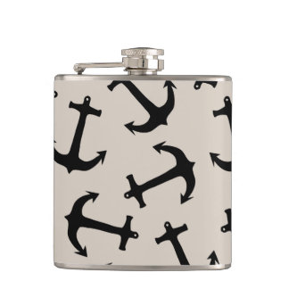 Cute Modern Navy Blue Nautical Anchors on Tan Hip Flask