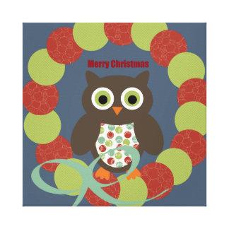 Cute Modern Owl Wreath Merry Christmas Gifts Canvas Prints
