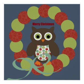 Cute Modern Owl Wreath Merry Christmas Gifts Posters
