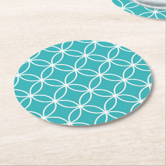 Cute Modern Pattern Overlapping Circles Aqua White Round Paper Coaster