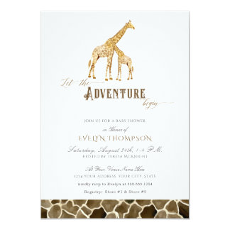 Cute Modern Safari Adventure Baby Shower Giraffes Card