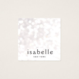 Cute Modern White Bokeh Glitter Square Square Business Card