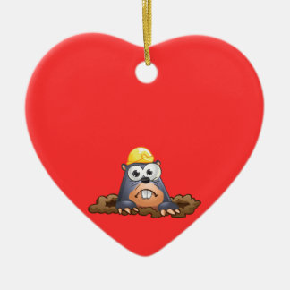 Cute Mole Digging Cartoon Ceramic Ornament