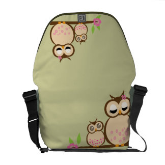 Cute Mom and baby owl Courier Bags