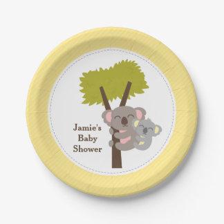 Cute Mommy Koala Bear Baby Shower Party 7 Inch Paper Plate