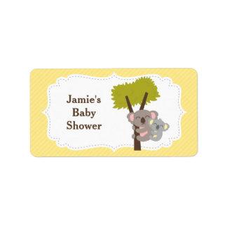 Cute Mommy Koala Bear Baby Shower Party Address Label