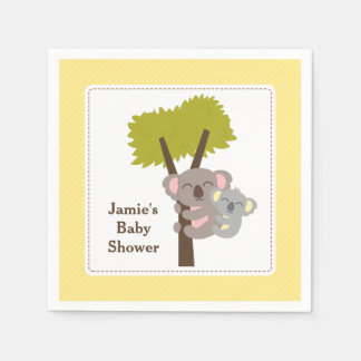 Cute Mommy Koala Bear Baby Shower Party Paper Napkins