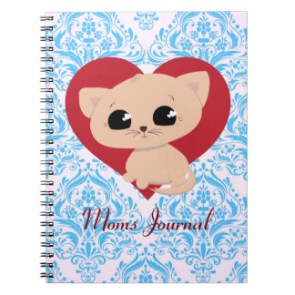 """Cute """"Moms Journal"""" Kitten Notebook"""