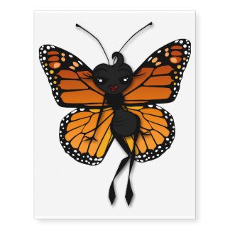 CUTE MONARCH BUTTERFLY LADY TEMPORARY TATTOO