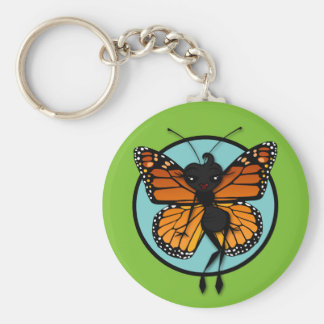CUTE MONARCH BUTTERFLY ROUND BASIC BUTTON KEYCHAIN