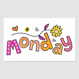 Cute Monday Week Day Greeting Text Expression Rectangular Sticker