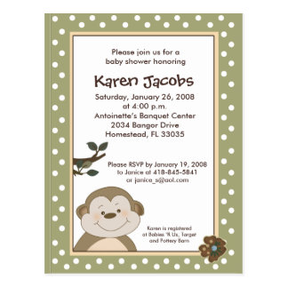Cute Monkey Baby Shower Invitation Postcard