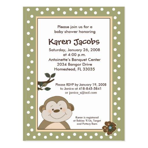 Cute Monkey Baby Shower Invitation Postcard