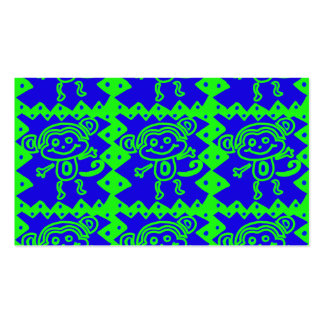 Cute Monkey Blue Lime Green Animal Pattern Business Card