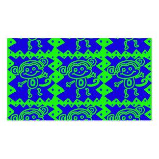 Cute Monkey Blue Lime Green Animal Pattern Business Card