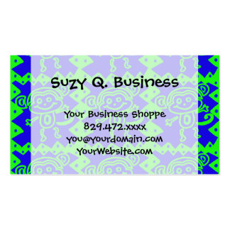 Cute Monkey Blue Lime Green Animal Pattern Business Card Template