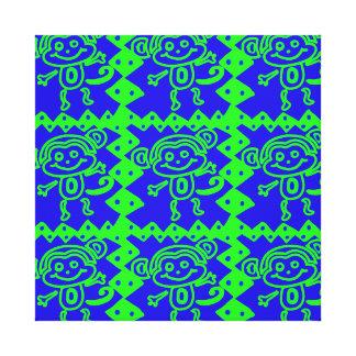 Cute Monkey Blue Lime Green Animal Pattern Canvas Prints