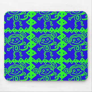 Cute Monkey Blue Lime Green Animal Pattern Mouse Pad