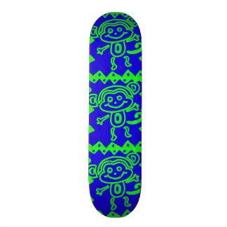Cute Monkey Blue Lime Green Animal Pattern Skateboard Decks