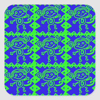 Cute Monkey Blue Lime Green Animal Pattern Square Sticker