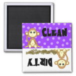 Cute Monkey Clean / Dirty Purple Dishwasher Magnet