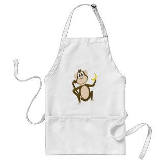 Cute Monkey Holding a Banana Cartoon Standard Apron