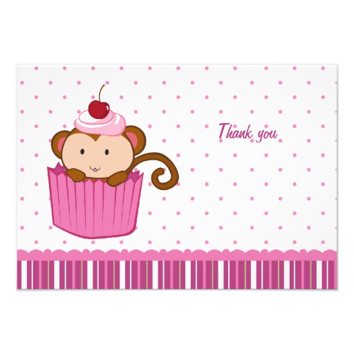 Cute monkey in a cupcake flat thank you card announcement