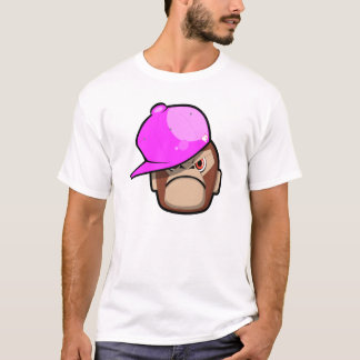 Cute monkey in pink apple style (on white shirt) T-Shirt