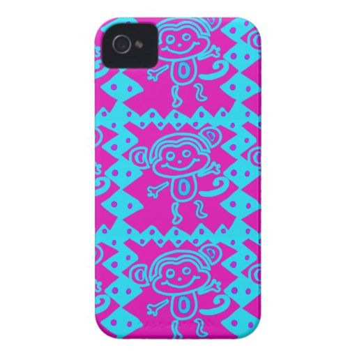 Cute Monkey Magenta Teal Animal Pattern Kids Gifts iPhone 4 Cover