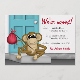 monkey moving new home announcements zazzle com au