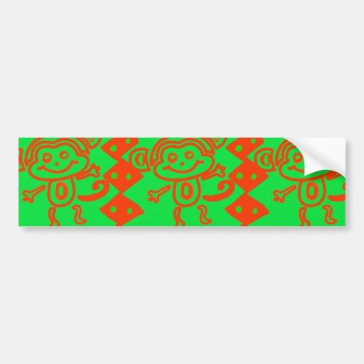 Cute Monkey Orange Green Animal Pattern Bumper Stickers