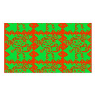 Cute Monkey Orange Green Animal Pattern Business Card