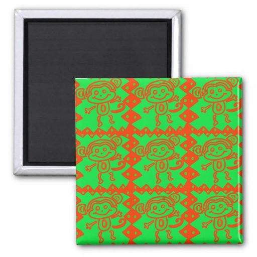 Cute Monkey Orange Green Animal Pattern Refrigerator Magnet