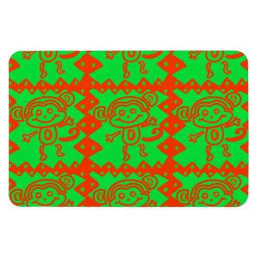 Cute Monkey Orange Green Animal Pattern Rectangular Magnet