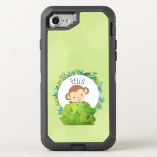Cute Monkey Peeking Out from Behind a Bush Hello OtterBox Defender iPhone 8/7 Case