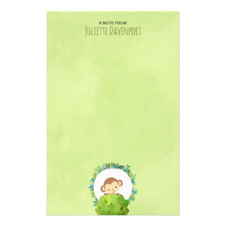 Cute Monkey Peeking Out from Behind a Bush Hello Personalised Stationery