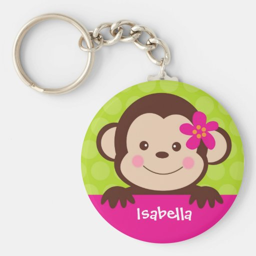 Cute Monkey Personalized name Key chain Bag tag