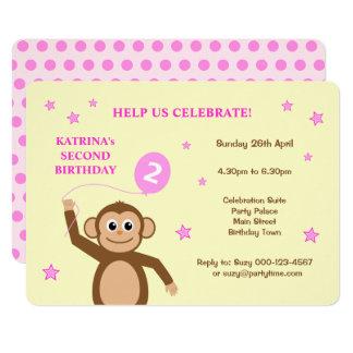 Cute monkey second birthday party invitation