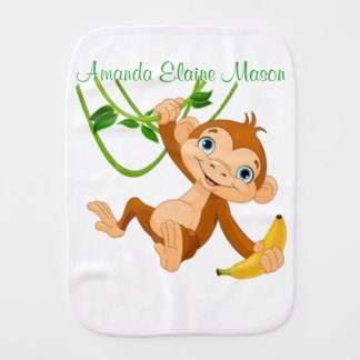 Cute Monkey with Banana Burp Cloth