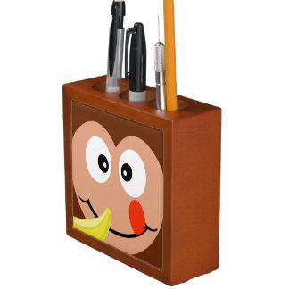 Cute Monkey With Banana Kids  Desk Organizer Pencil/Pen Holder