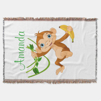 Cute Monkey with Banana Throw Blanket
