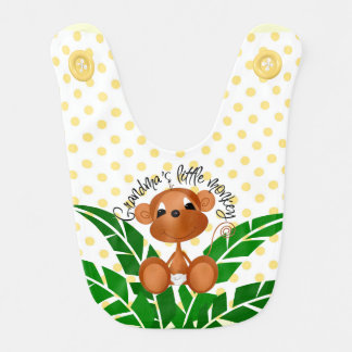 Cute Monkey with Jungle Plant on Dots Bib