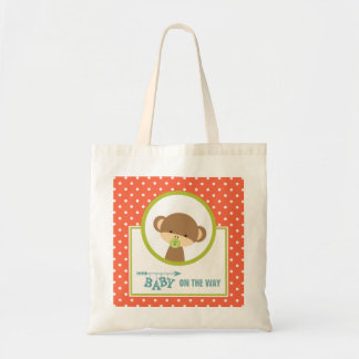 Cute Monkey with Pacifier - Baby on the Way Tote Bag