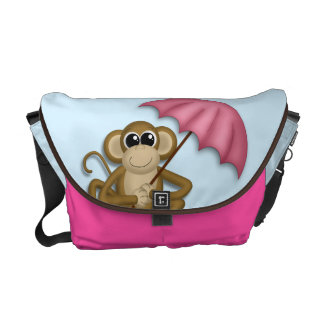 Cute Monkey with Pink Umbrella Messenger Bag